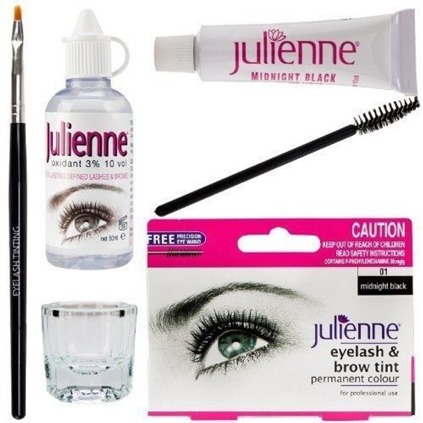 New Julienne Eyelash Eyebrow Tinting Kit Dye Mid Night Black 01 Brush Tint Dish Oxidant