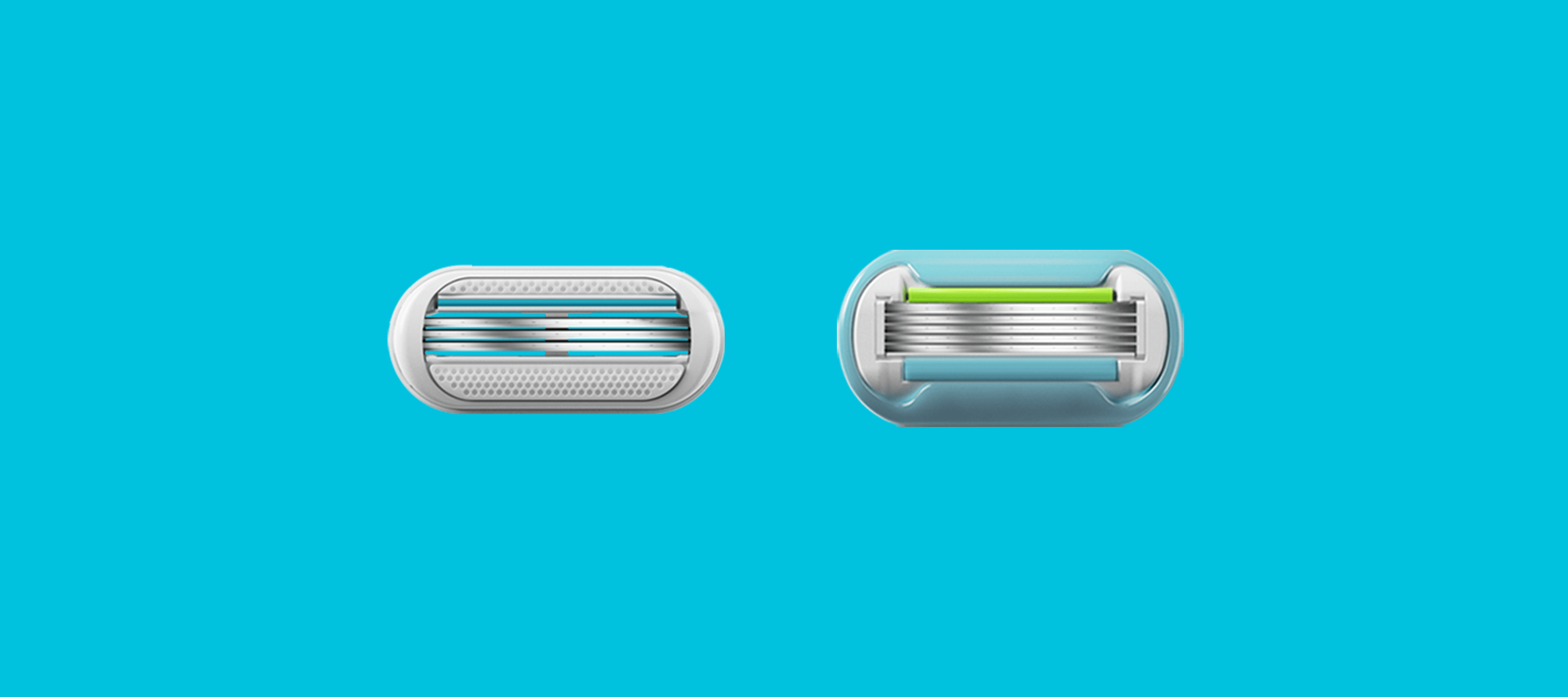 Two Venus razor cartridges (Extra Smooth and Smooth Sensitive) side by side.