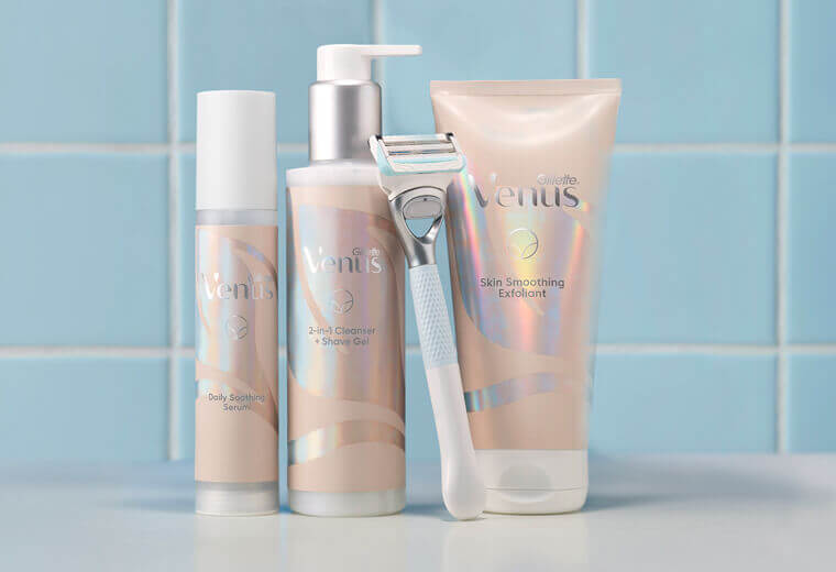 Venus products for pubic hair grooming and skin care