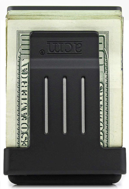 Black ProClip™ shown attached to backside of ACM® with US Banknotes