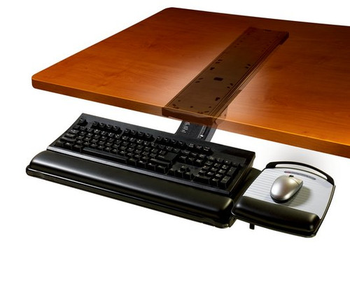 3M AKT180LE Sit Stand Easy Adjust Keyboard Tray with Adjustable Keyboard and Mouse Platform