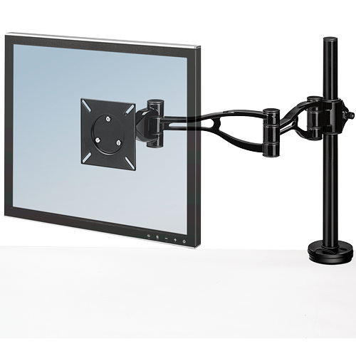 Fellowes 8041601 Depth Adjustable Monitor Arm adjusts easily in every way for optimum viewing control.