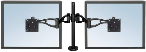Fellowes 8014701 Depth Adjustable Monitor Dual Arm adjusts easily in every way for optimum viewing control.