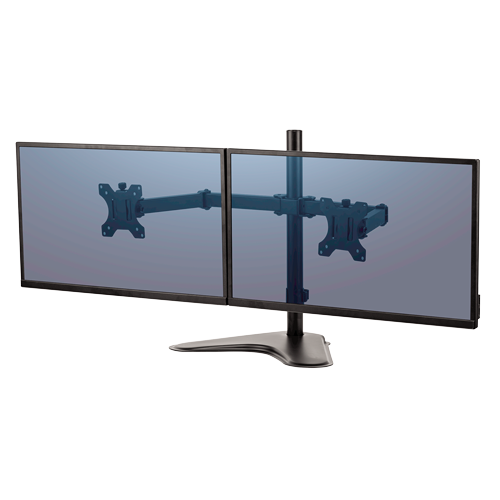 Free-standing design allows dual monitors to be used in spaces that do not allow a clamp or grommet mount. 8043701