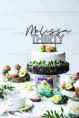 Hollow thirty cake topper