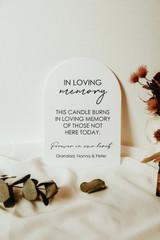 Arch In loving Memory Wedding  acrylic sign
