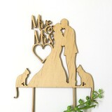 Mr & Mrs silhouette with 2 cats