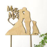 Mr & Mrs silhouette with 1 dog - Engagement Anniversary- Wood Cake Topper / wooden topper