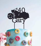 40 Harley Motorbike - Custom name - birthday  - Personalised Name Wood cake topper birthday decoration