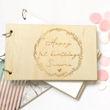 Custom Birthday guest book - Engraved Wreath