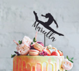 Gymnastics - Custom name - birthday  - Personalised Name Wood cake topper birthday decoration