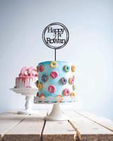 Custom happy 21st birthday - cake topper