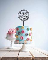Custom name - Wreath happy birthday cake topper