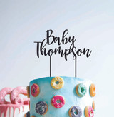 Baby Shower - Personalised cake topper  with surname - surname with flowing font