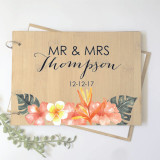 Wedding guest book - personalised with tropical theme