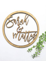 Round Circle personalised wedding welcome sign