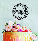21 - Twenty one wreath cake topper