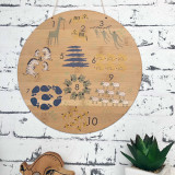 Numbers Animal Scandi bamboo plywood wall hanging