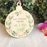 Christmas Bauble - First Christmas Married Wreath