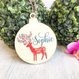 Christmas Bauble - Personalised Scandi Deer