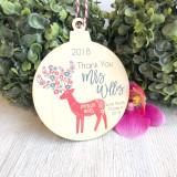 Christmas Bauble -Teacher Keepsake Scandi Deer