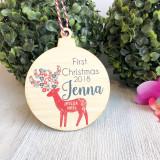 Christmas Bauble - First Christmas Scandi Deer