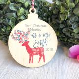Christmas Bauble - First Christmas married Scandi Deer