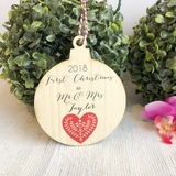 Christmas Bauble - First Christmas married Scandi Heart