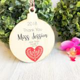 Christmas Bauble - Thank you Teacher Scandi Heart