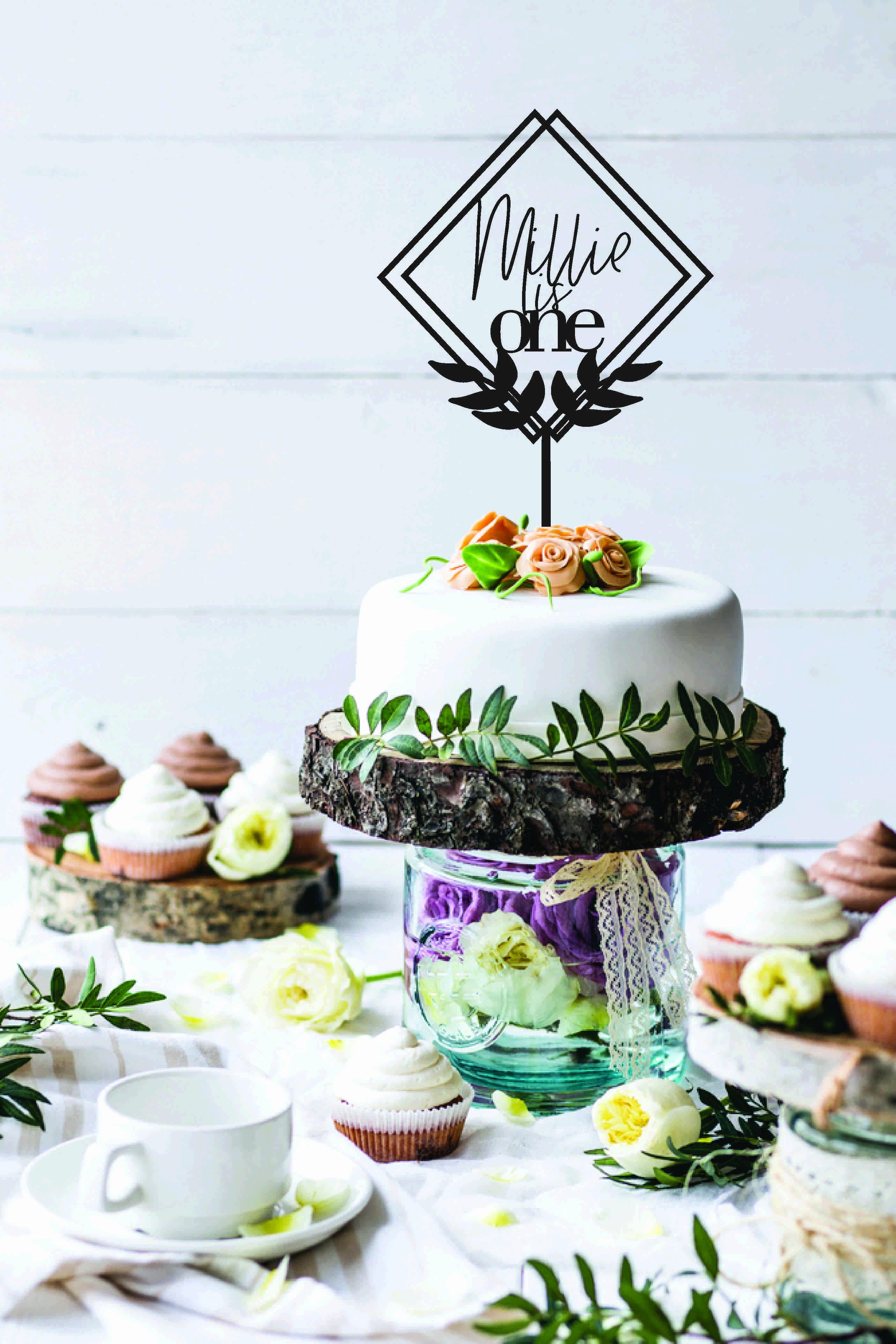 Modern Laurel cake topper