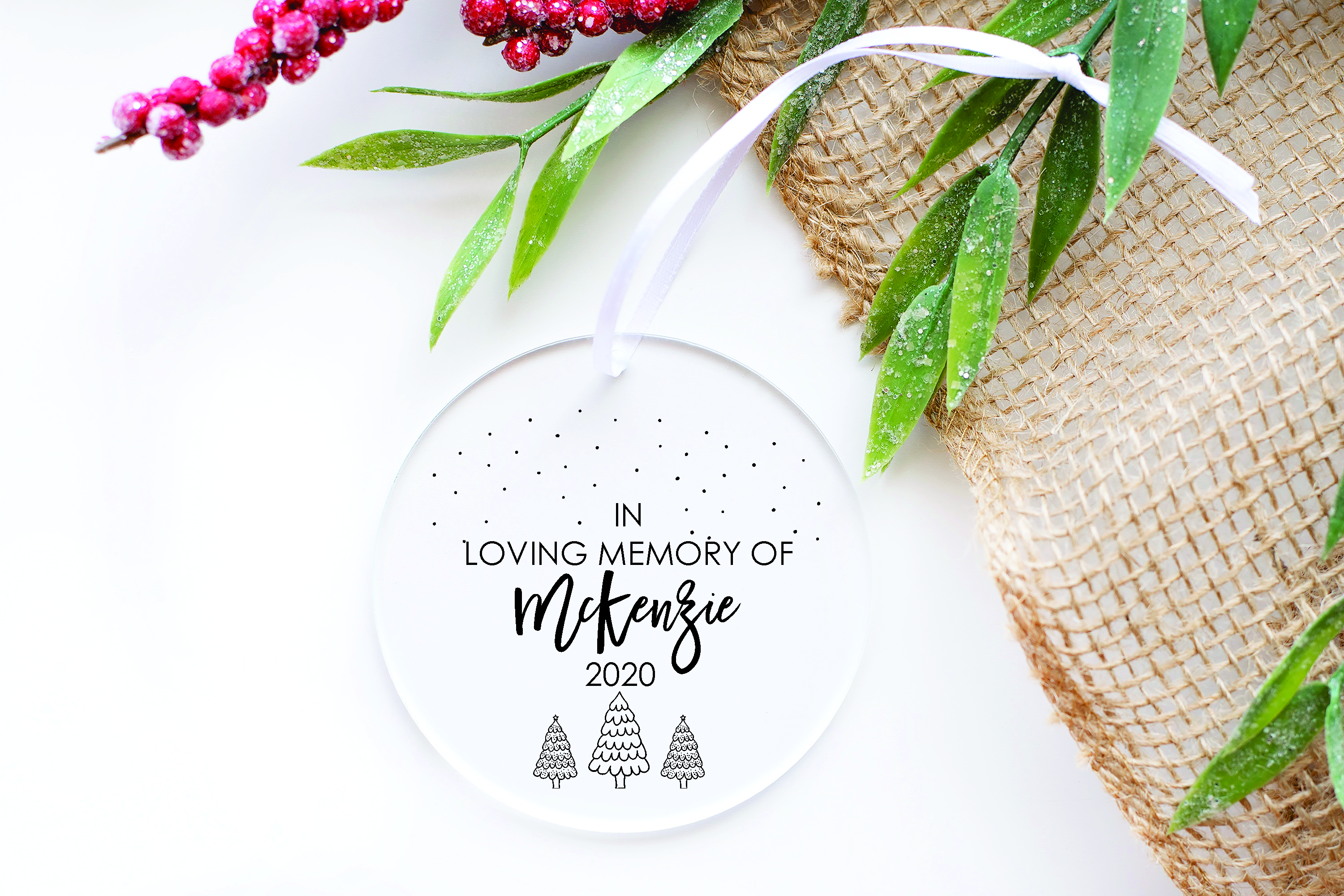 In memory Christmas Clear Acrylic Christmas Decoration