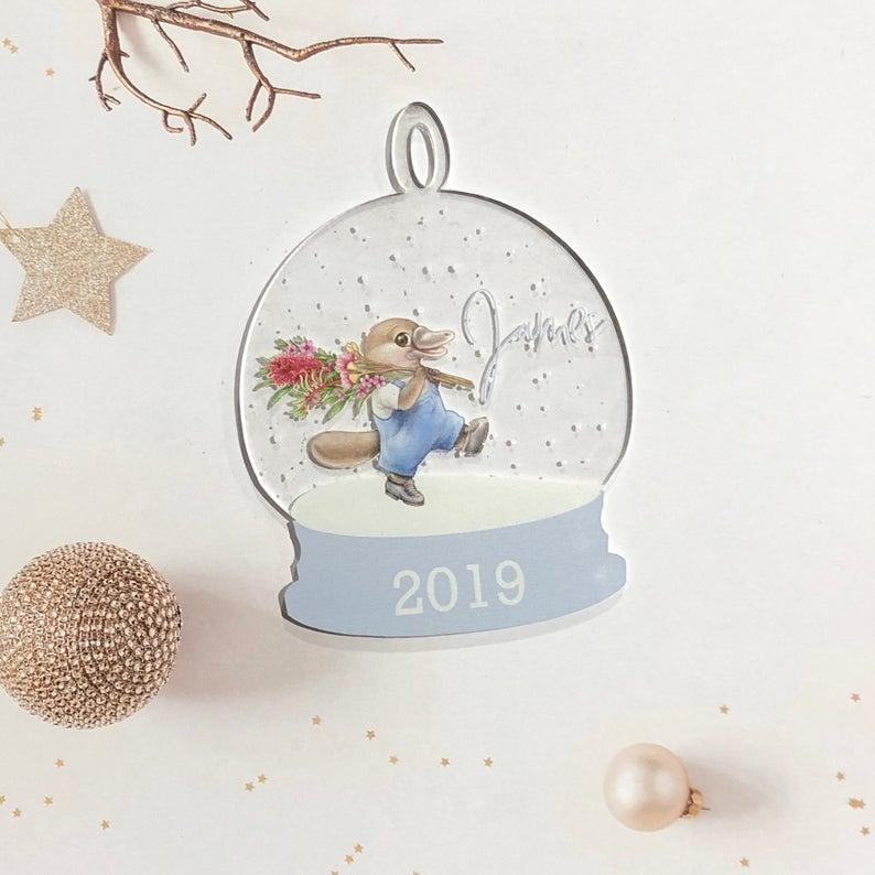 Australian Platypus Snowglobe Clear Acrylic Christmas Decoration