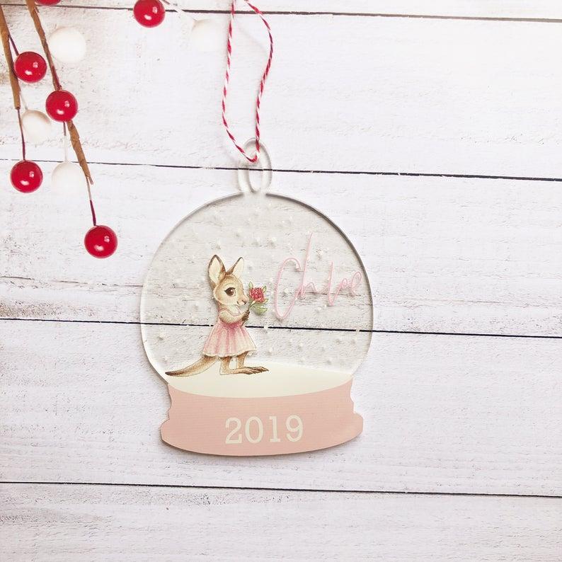 Kangaroo Snow globe Clear Acrylic Christmas Decoration