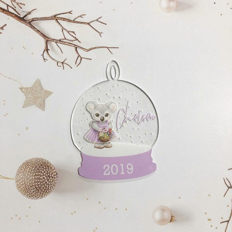 Koala Snow globe Clear Acrylic Christmas Decoration