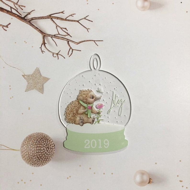Echidna Snow globe Clear Acrylic Christmas Decoration