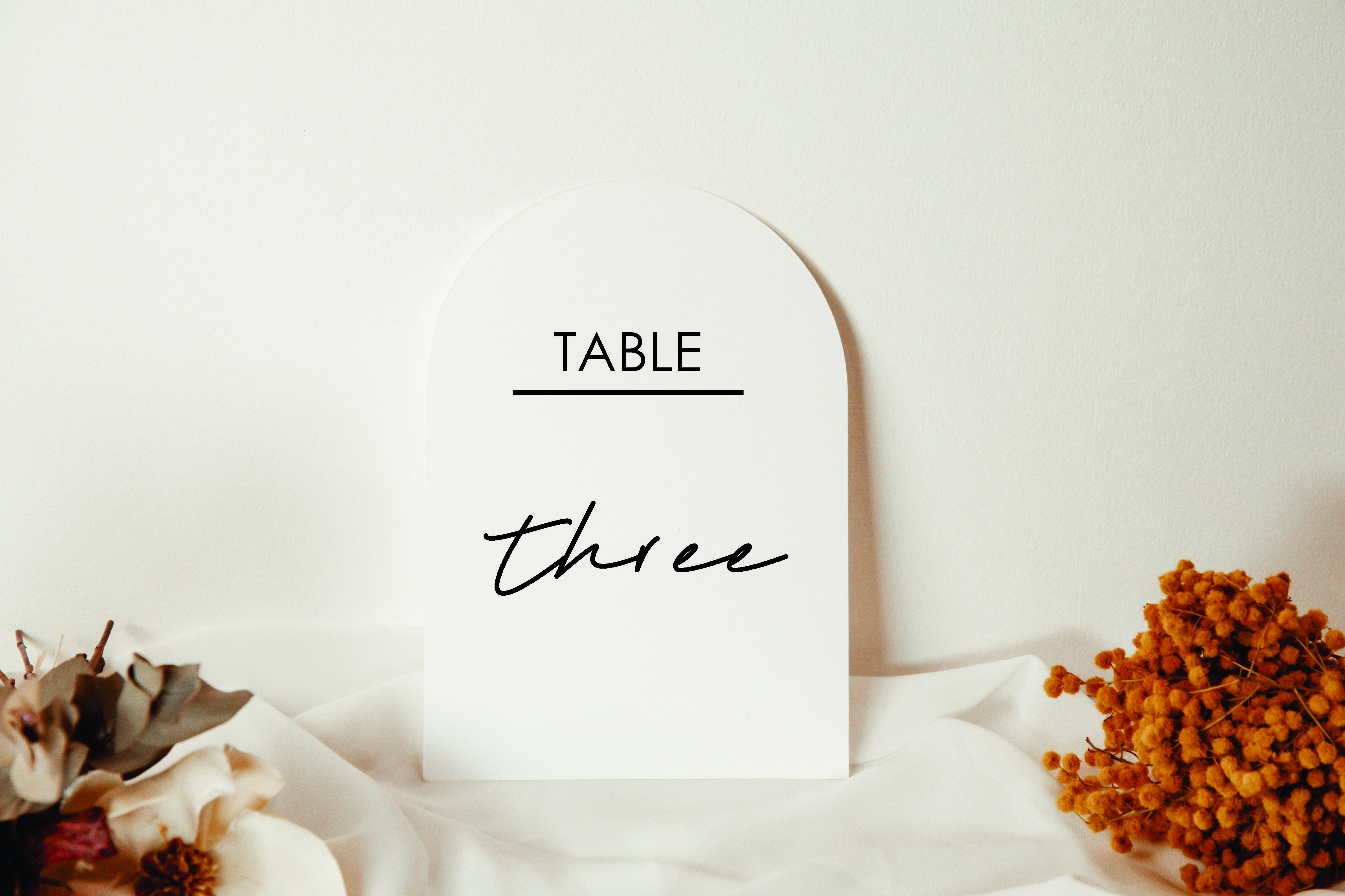 Underline Table Number acrylic sign