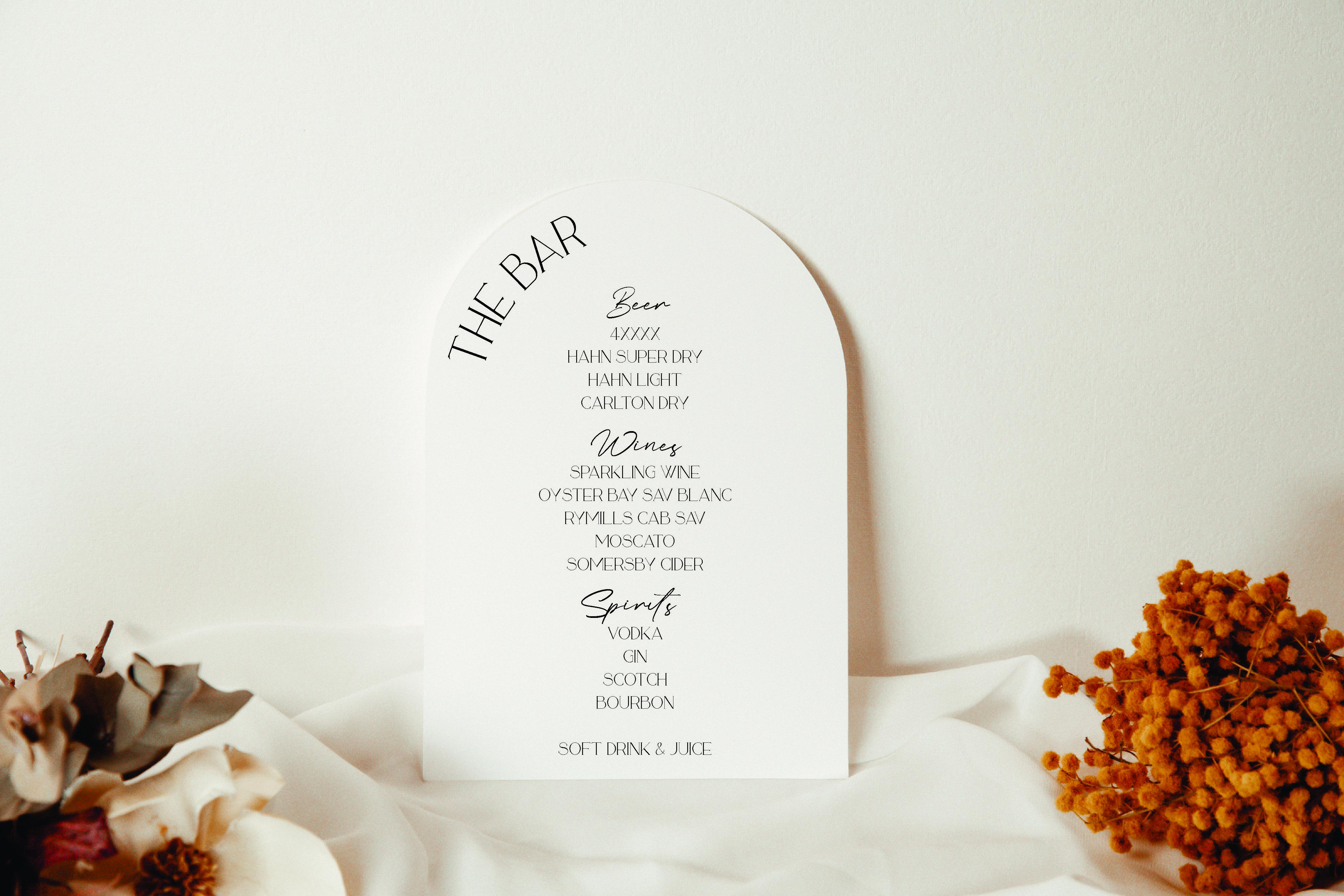 Modern The Bar Wedding  acrylic sign