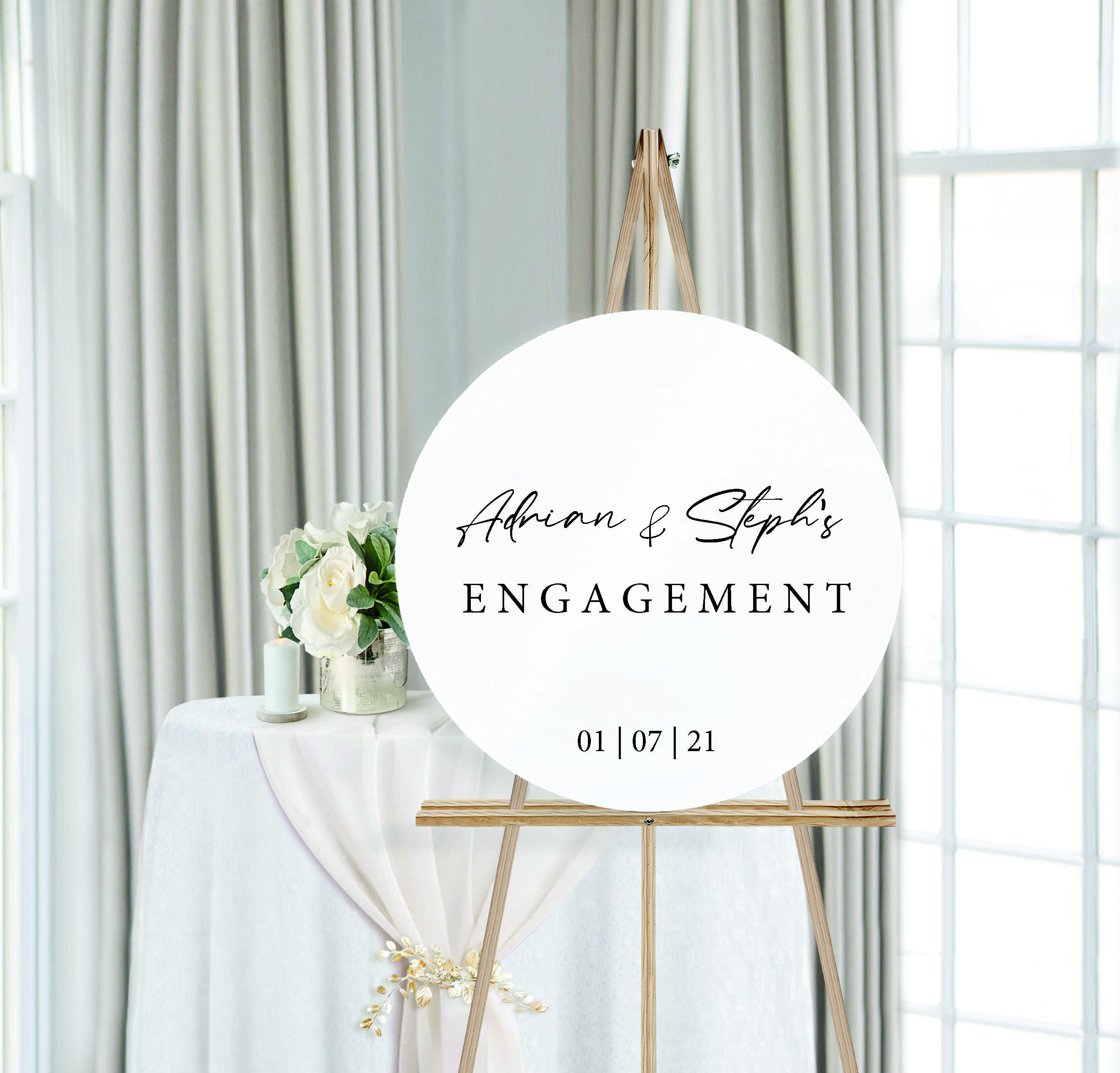 Personalised Engagement Round Wedding Sign