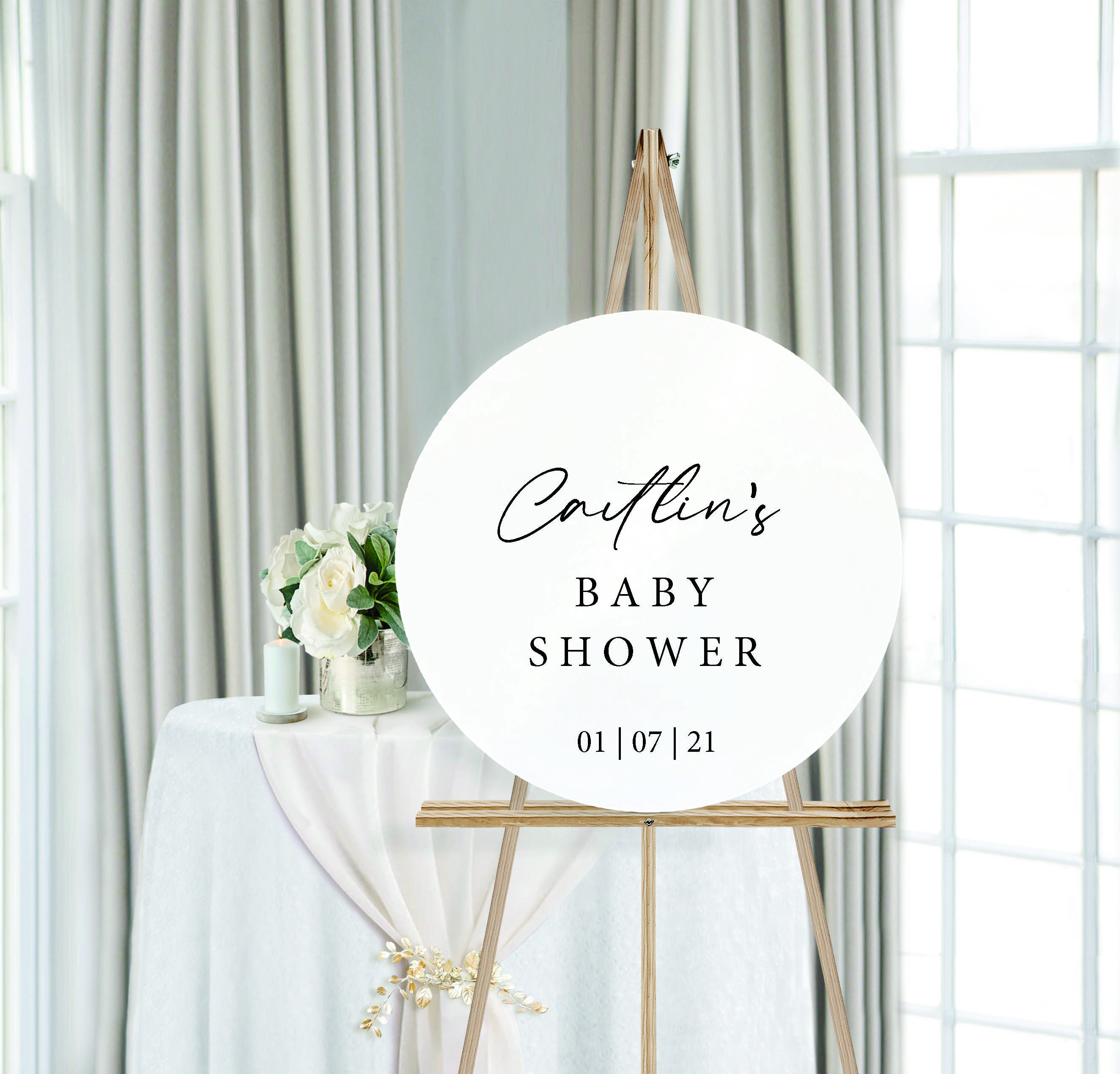 Personalised Baby Shower Round Wedding Sign