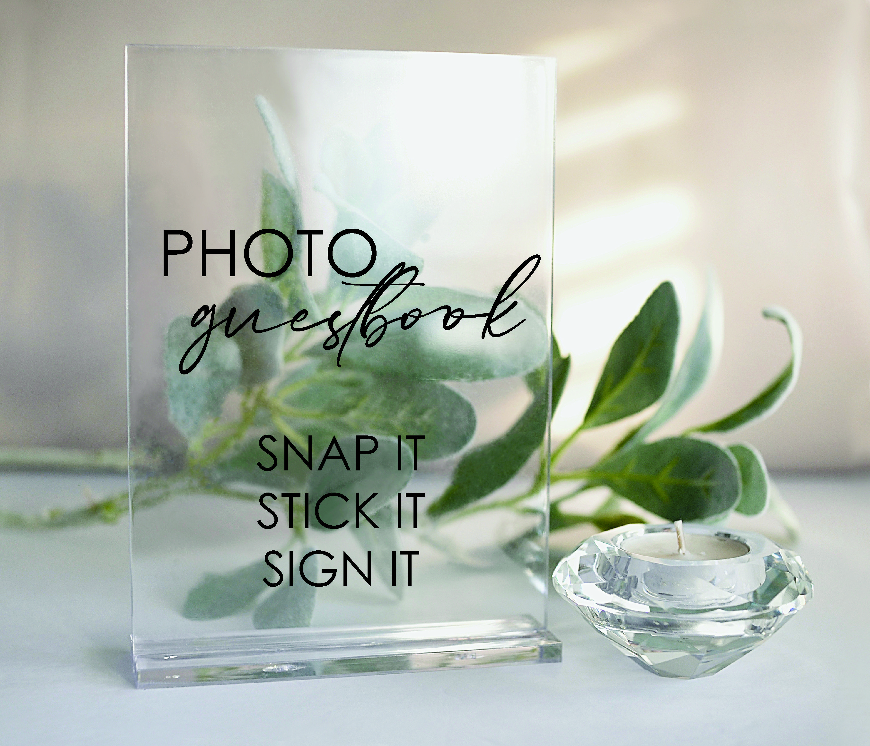 Rectangle Wedding Photo Guest book acrylic sign