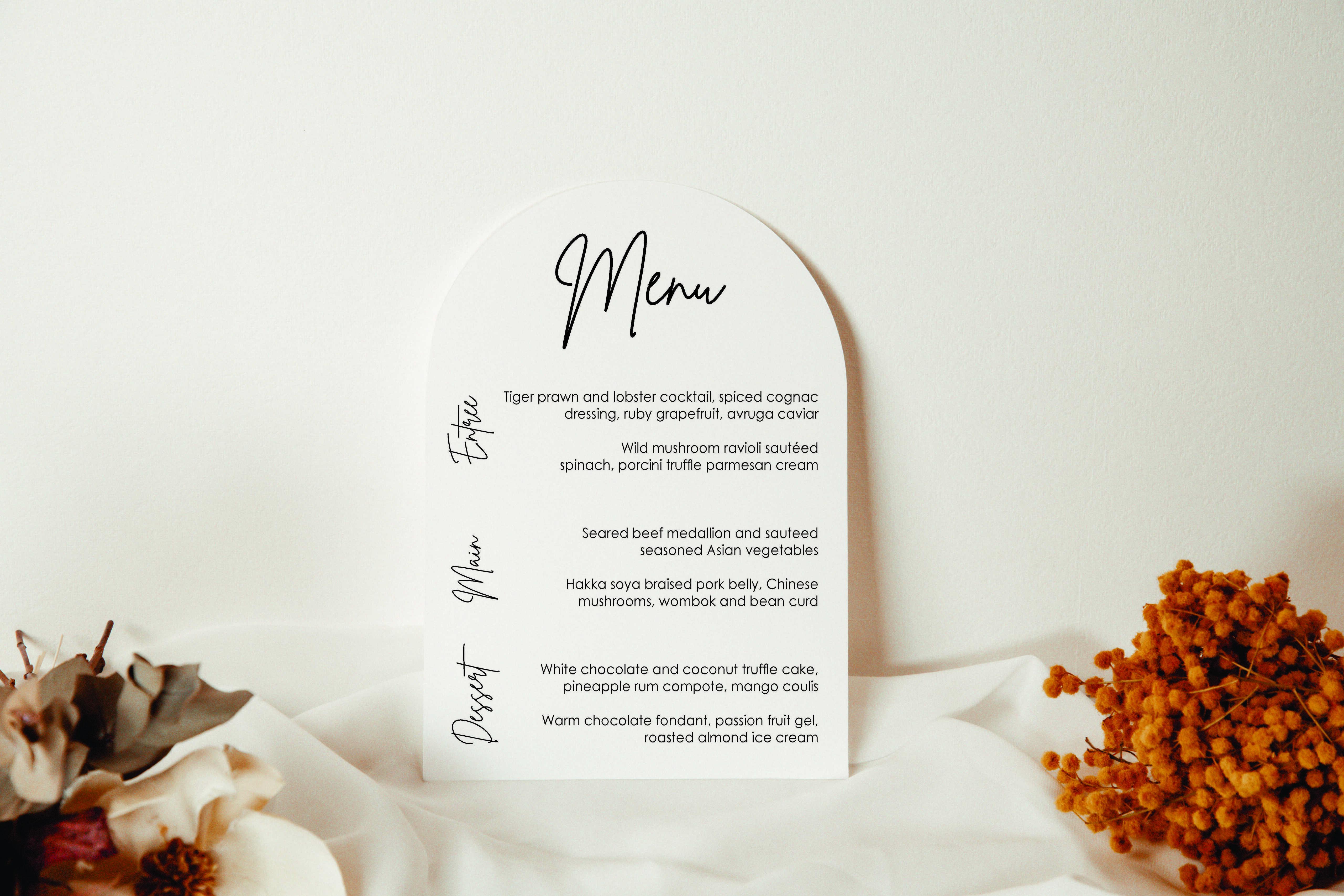 Side Table Menu acrylic sign