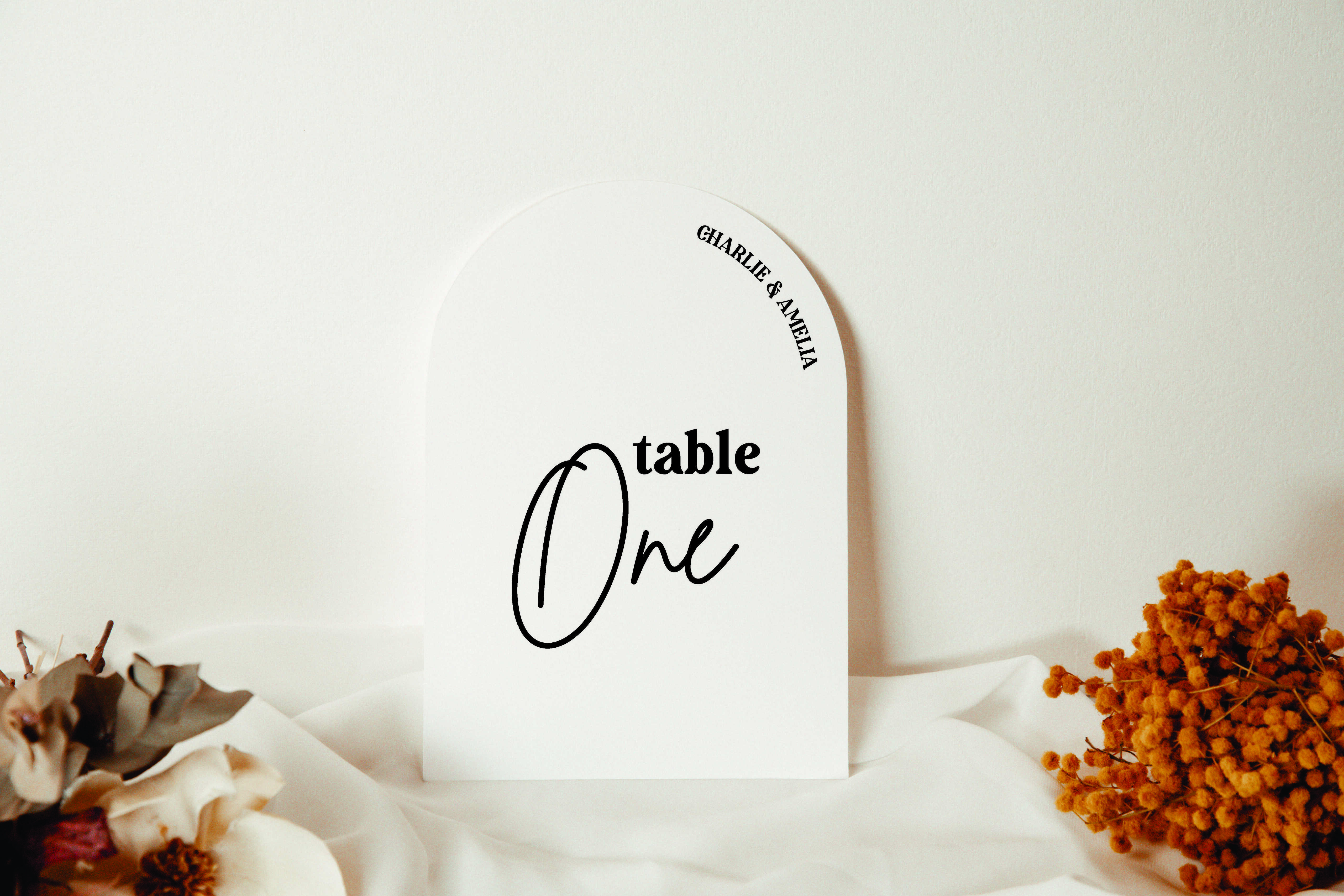 Archer Range - Block Table Numbers Script acrylic sign