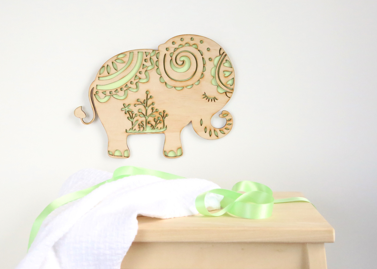 Elephant silhouette - timber wall hanging