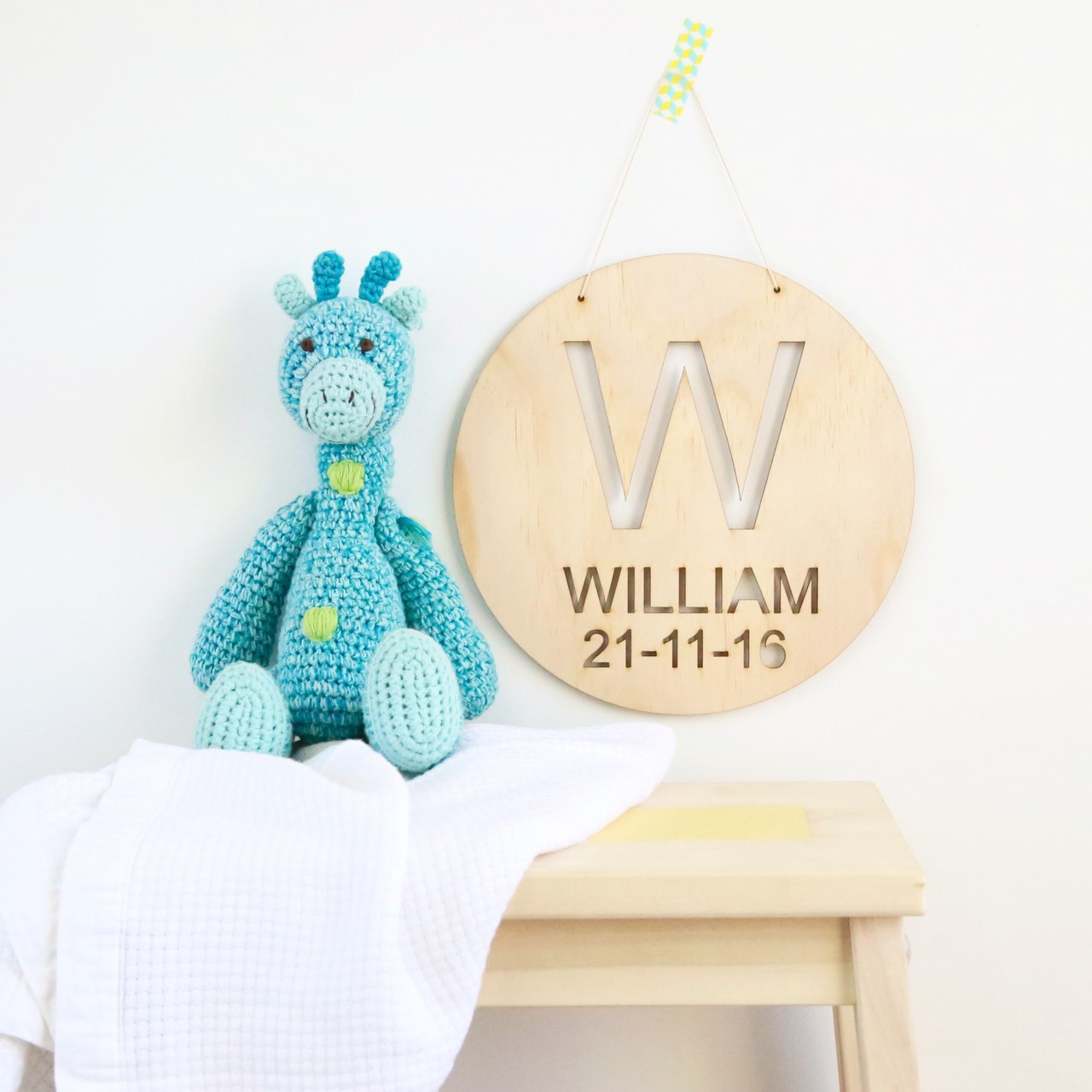 Personalised childs birth announcement wood wall plaque