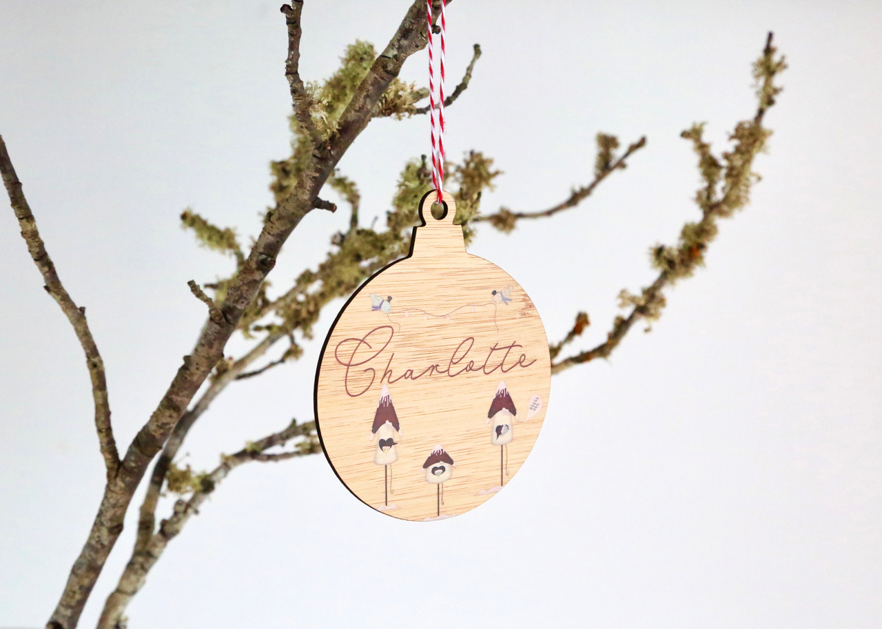Coloured - UV Printed - Personalised Three Bird House Christmas tree decoration
