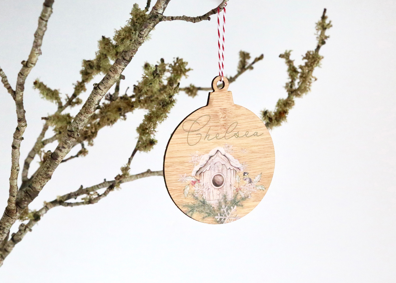 Coloured - UV Printed - Personalised Single close up Bird House Christmas tree decoration