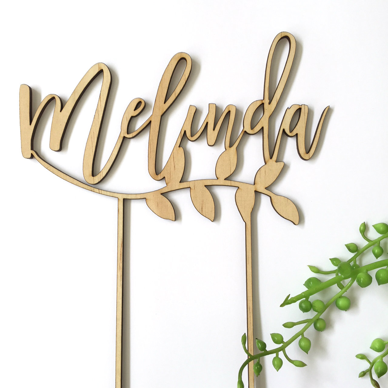 A personalised name with laurel  - birthday  - Personalised Name Wood cake topper birthday decoration