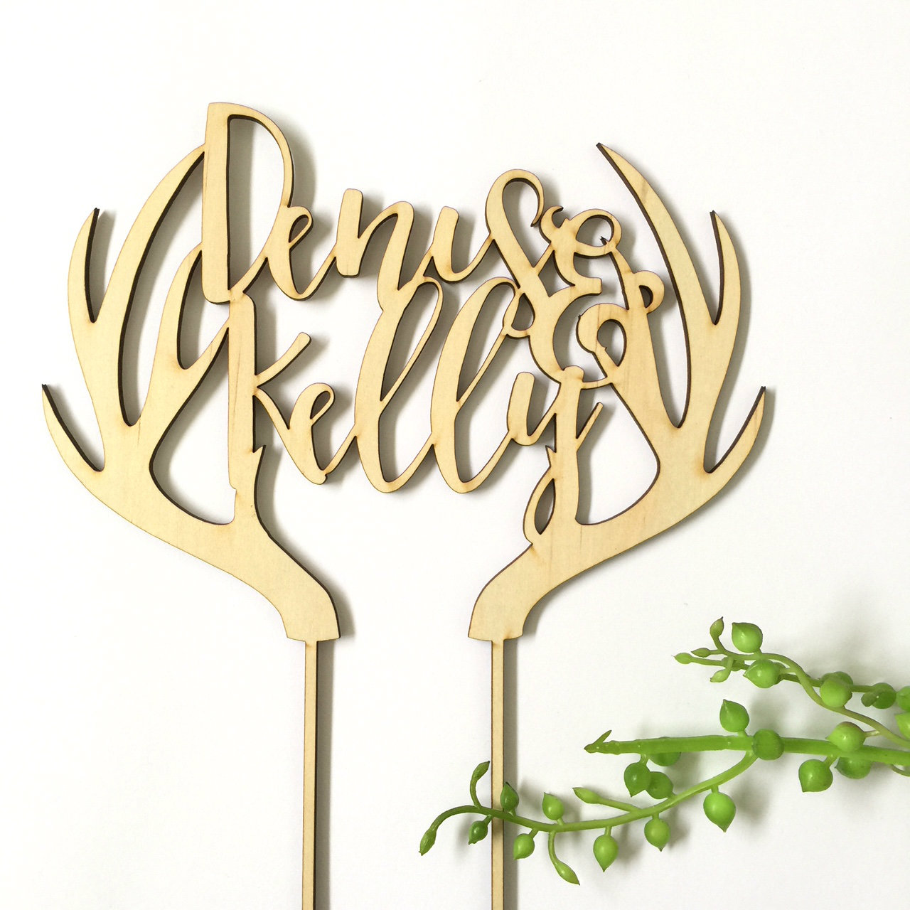Couples wedding name with deer antlers - Custom name - birthday  - Personalised Name Wood cake topper birthday decoration