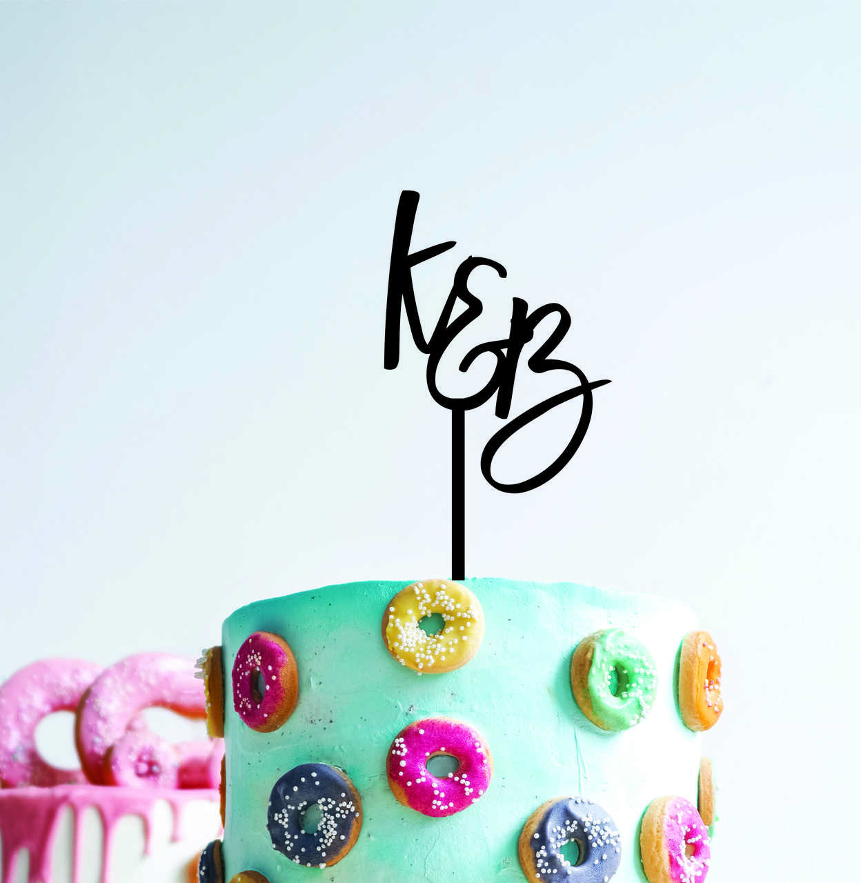 Couple engagement Wedding - Initials cake topper