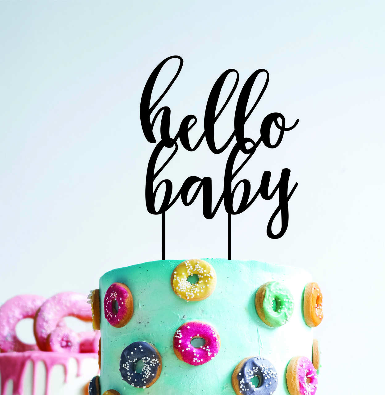 Hello baby - baby shower  (thicker font) - Wood Cake Topper / wooden topper